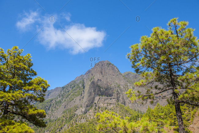 Canary Islands (Spain), La Palma . Mirador de la Cumbrecita, inside of Caldera de Taburiente National Park. Caldera de Taburiente National Park is a large geological feature on the island of La Palma. It contains the enormous expanse of the Caldera de Taburiente which dominates the northern part of the island, and was designated as a national park in 1954