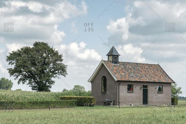 Small brick church in rural area