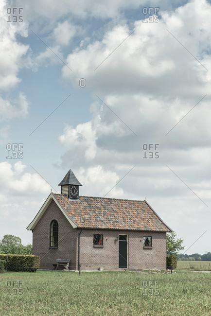 Quaint brick church in rural area