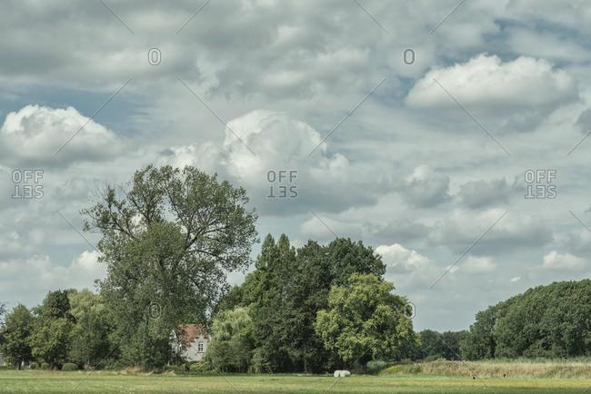 Rural house under cloudy skies