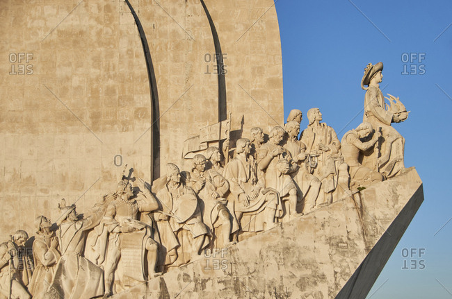 The Monument to the Discoveries (Padrao dos Descobrimentos) on the edge of the Tagus River, as seen along its western profile, Lisbon, Portugal