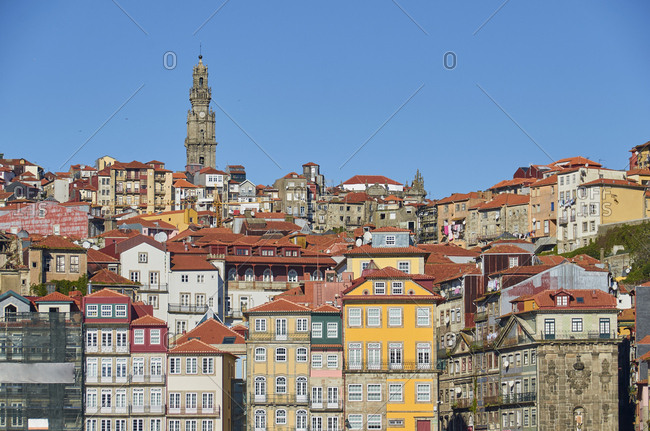 Old Town of Porto with Clerigos Tower at afternoon, Portugal