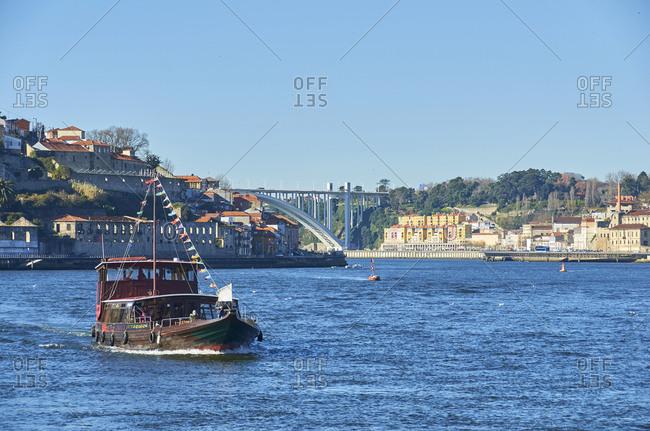 Tourist boat on Douro river, Porto, Portugal