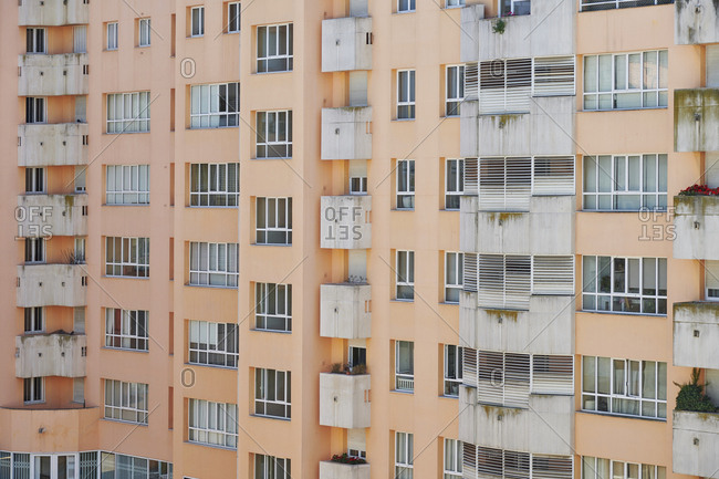 Lisbon, Portugal - August 16, 2019: Facades of apartment buildings and windows