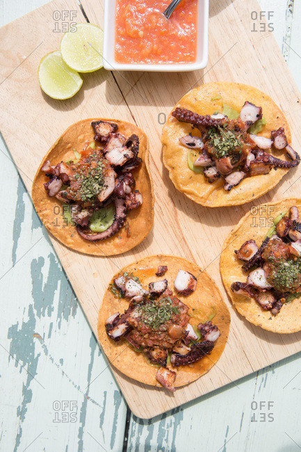 Overhead view of octopus tacos