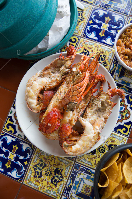 Cooked lobster on a plate