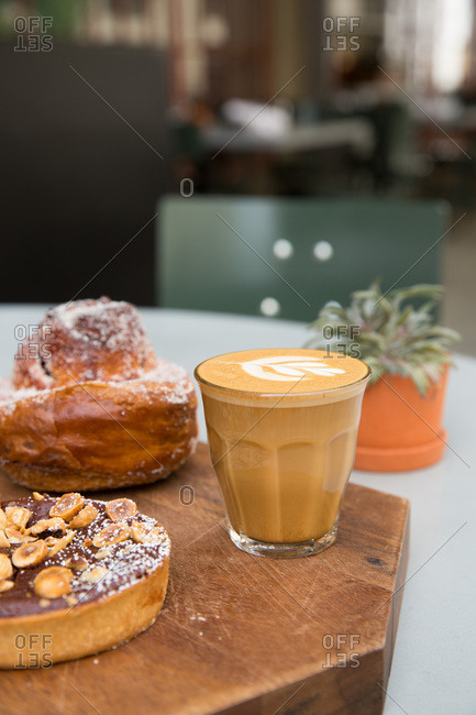 Cappuccino and pastries in a cafe