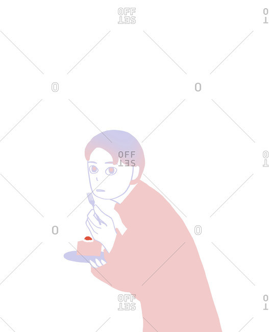 Illustration of person being caught eating a slice of cake