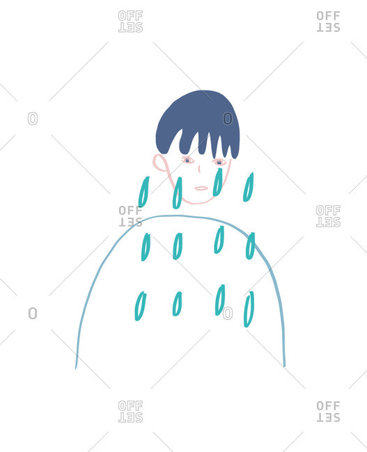 Illustration of person crying a lot of tears