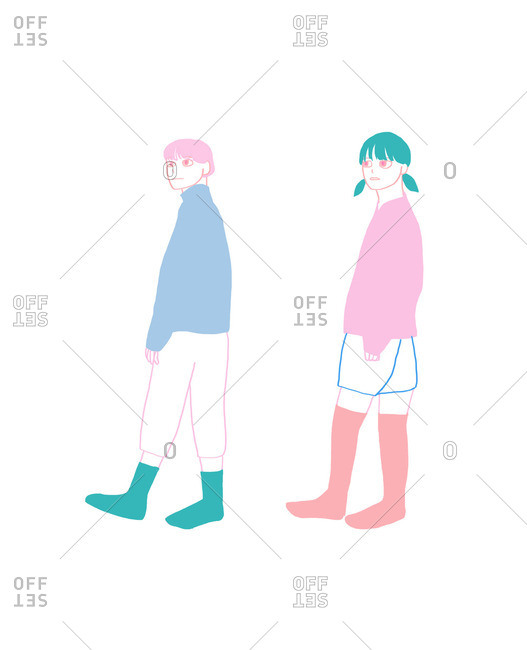 Man and woman walking in the same direction in their socks
