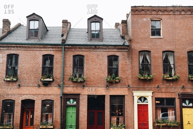 Old brick building with multicolored doors