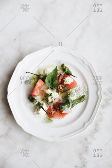 Watermelon, feta cheese, pepper, and mint salad