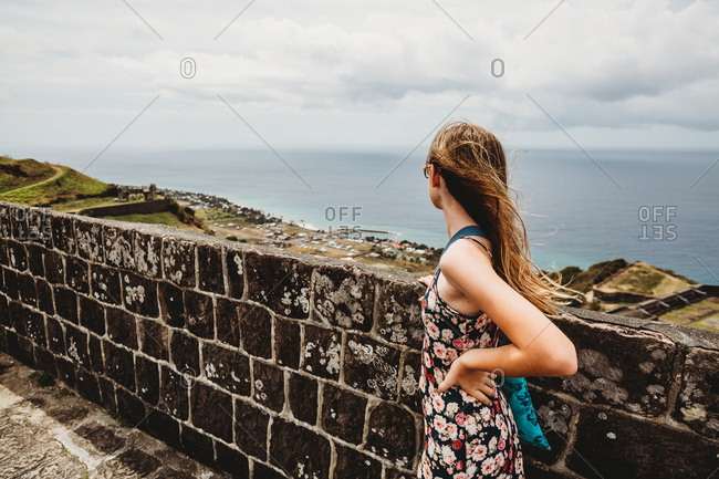Tween girl looks at gorgeous view on St Kitts Cruise Port Stop
