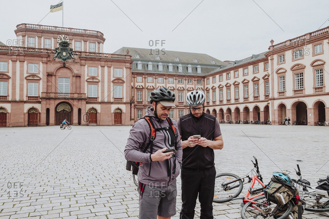 Cyclists in Mannheim Palace, Germany