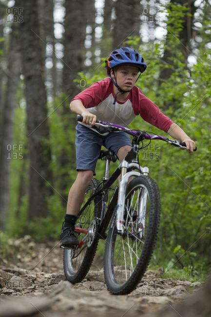 Miles Wheatcroft mountain biking on the McKinnick trail near Sandpoint Idaho.