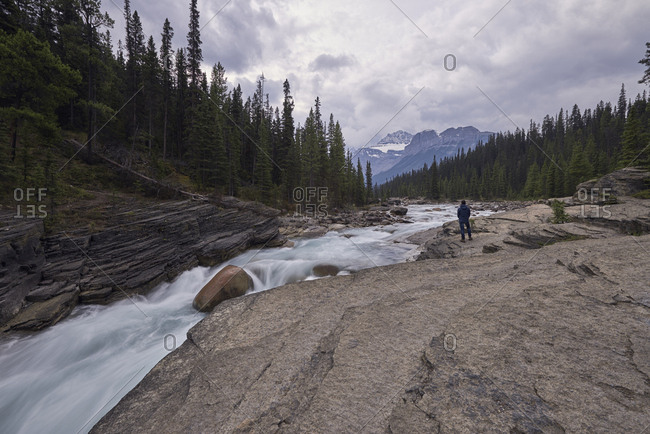 The Mistaya River flows through Mistaya Canyon in Banff National Park, Alberta Canada