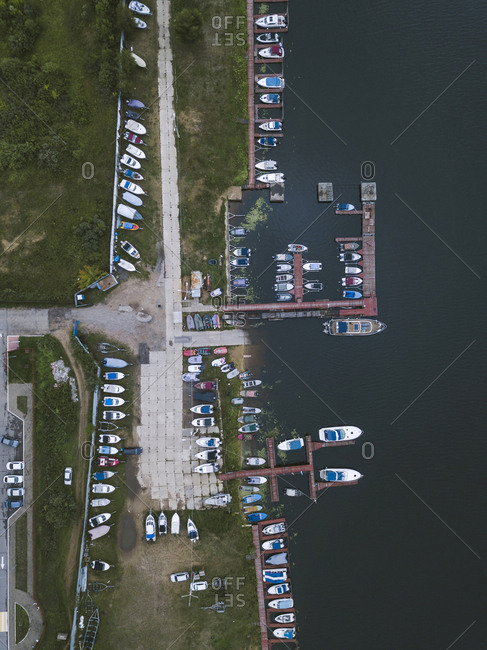 Aerial view of pier and boats in Moscow, Russia