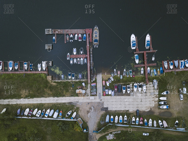 View of pier and boats in Moscow, Russia from above