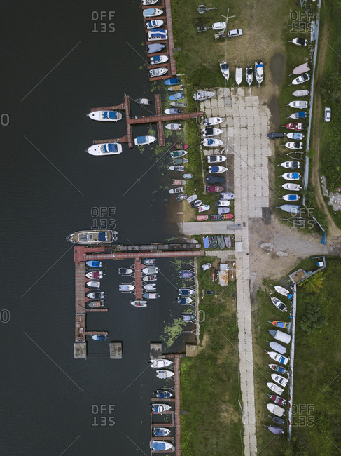 View of pier and boats from above Moscow, Russia