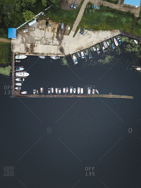 View of boardwalk and boats from above