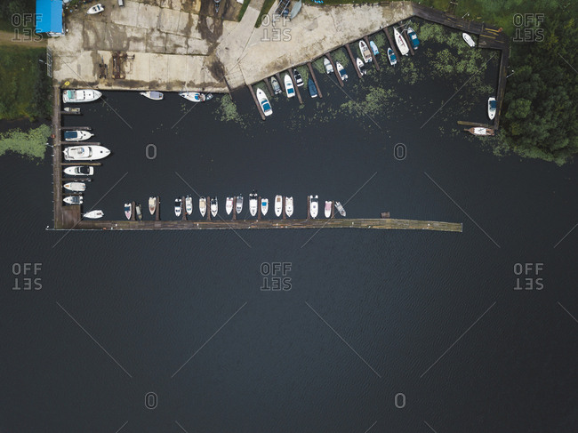 View of boardwalk and boats from above in Moscow, Russia
