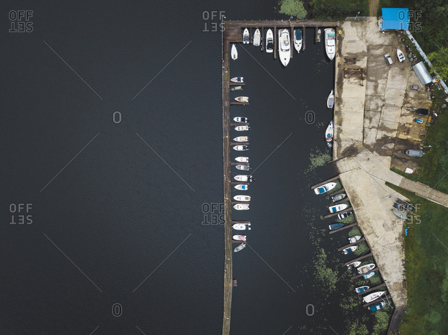 Boardwalk and boats from above in Moscow, Russia