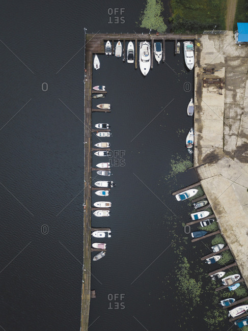 Boardwalk and boats in Moscow, Russia from above