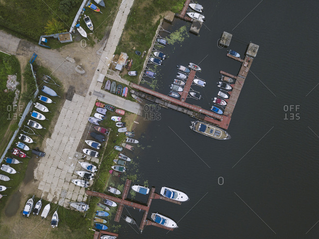 Aerial view of jetty and boats
