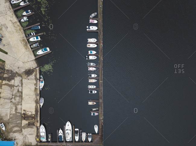 Aerial view of jetty and boats in Moscow, Russia