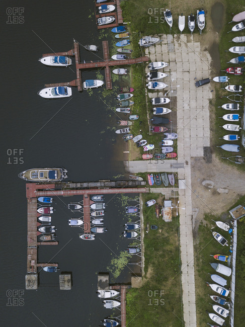 View of jetty and boats from above