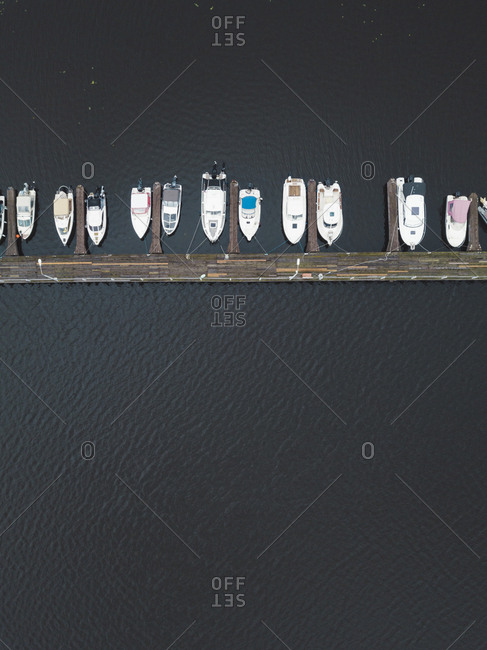 Aerial view of pier and boats in the Volga River in Moscow