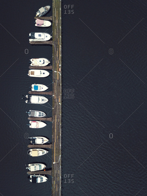 View of pier and boats in the Volga River in Moscow from above