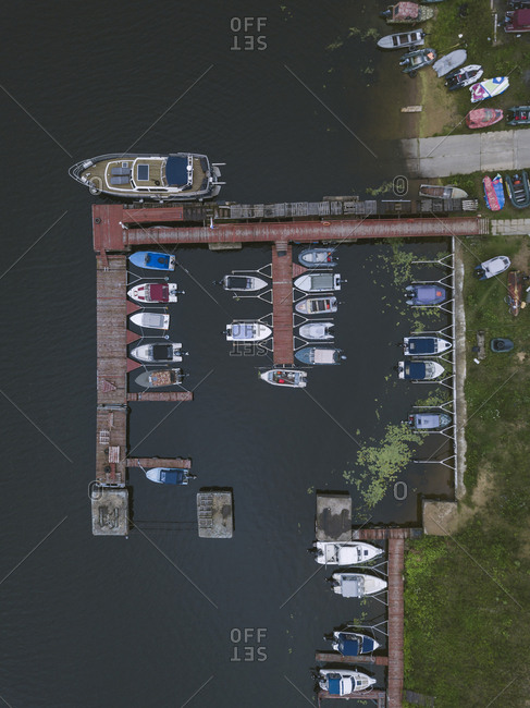 Aerial view of pier and boats on the coast of Moscow