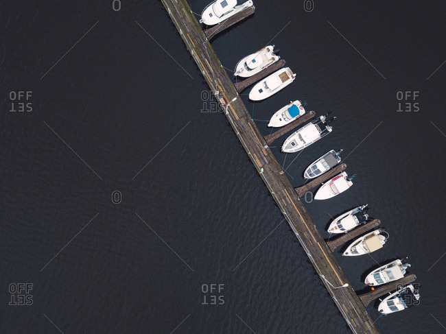 View from above of pier and boats in the Volga River in Moscow, Russia