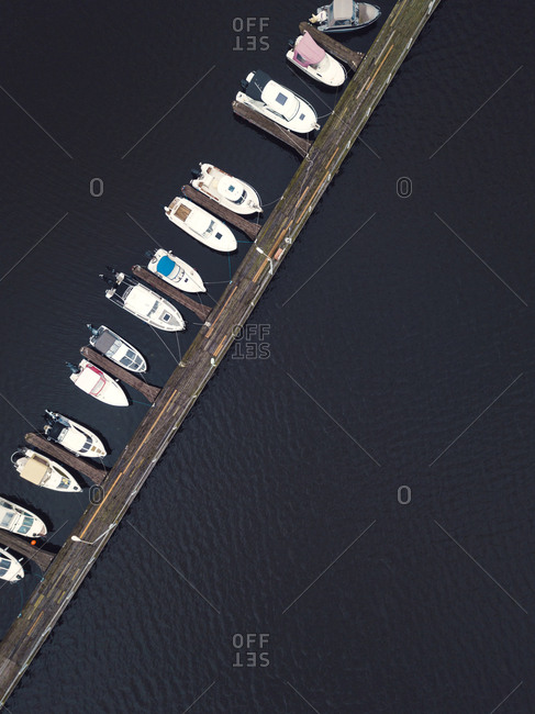 View from above of pier and boats in the Volga River in Moscow