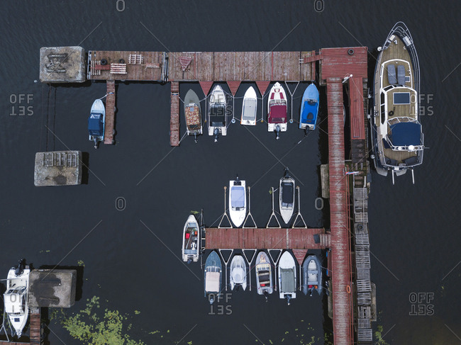 View of a pier and boats in Moscow, Russia from above