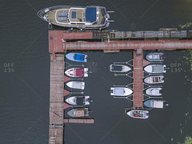 Pier and boats in Moscow, Russia from above