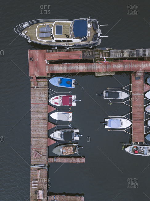 Pier and boats viewed from above in Moscow, Russia