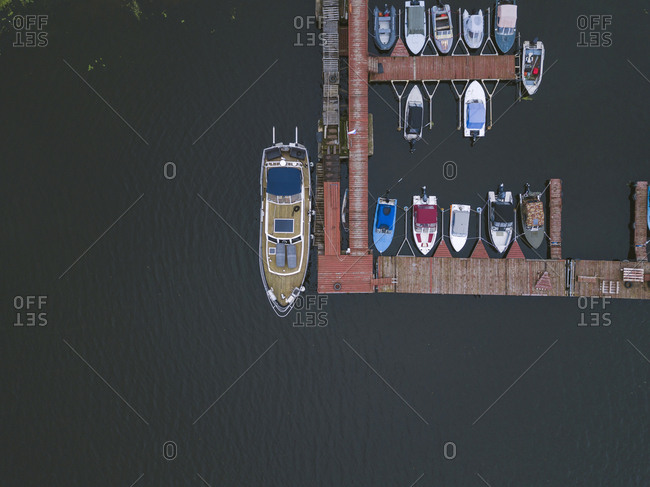Pier and boats on the coast of Moscow, Russia