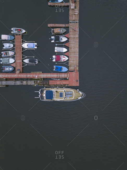 Aerial view boats and pier on the coast of Moscow, Russia