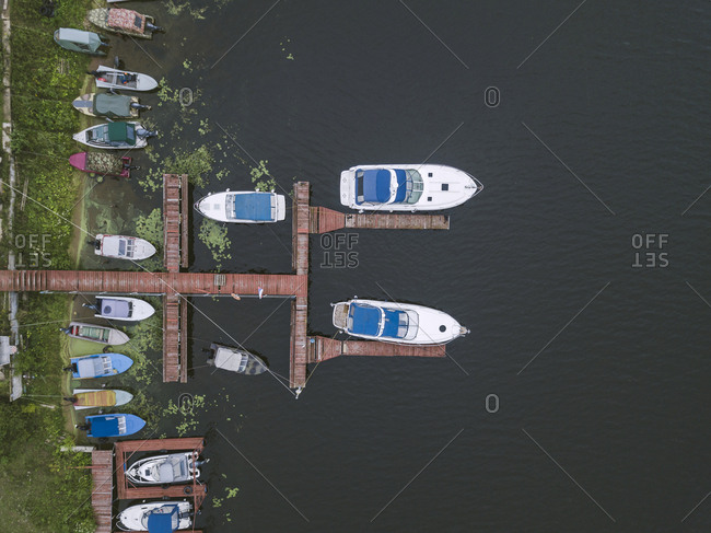 Aerial view boats and pier in Moscow, Russia