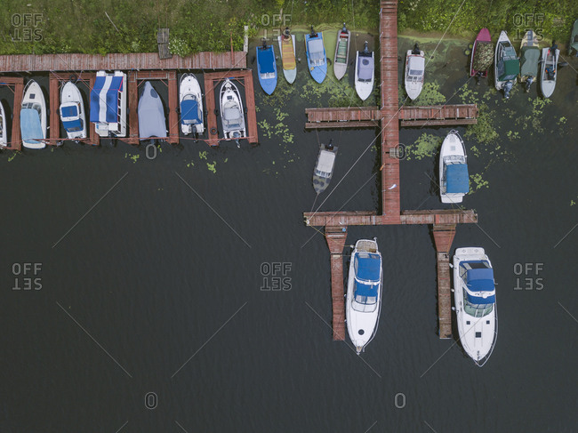 Bird's eye view boats and pier on the coast of Moscow, Russia