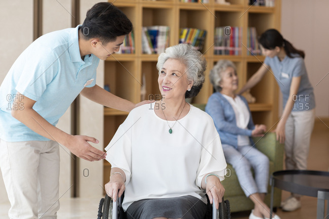 Senior Chinese women in nursing home