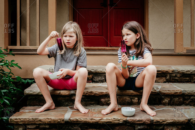 Girls unhappy about their popsicles