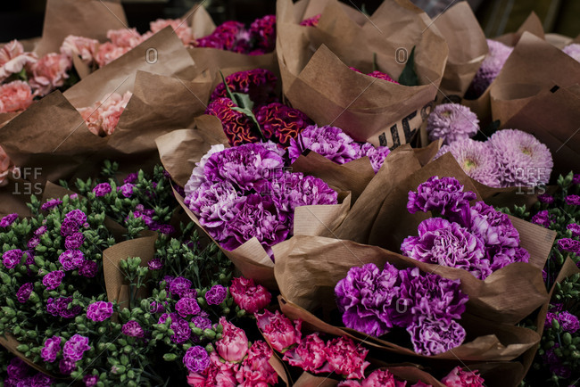 Bunches of assorted flowers