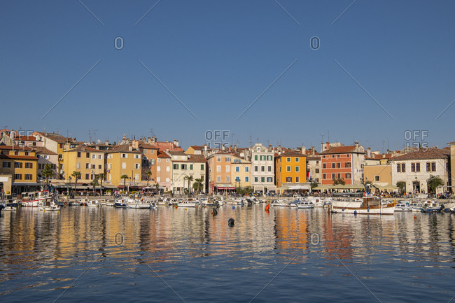 April 20, 2019: The harbor of the istrian town of Rovinj in Croatia