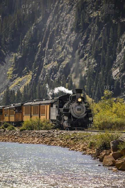 Silverton, Colorado - September 17, 2017: Durango and silverton narrow gauge railroad train coming up the tracks