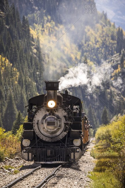 Durango and silverton narrow gauge railroad train coming up the tracks