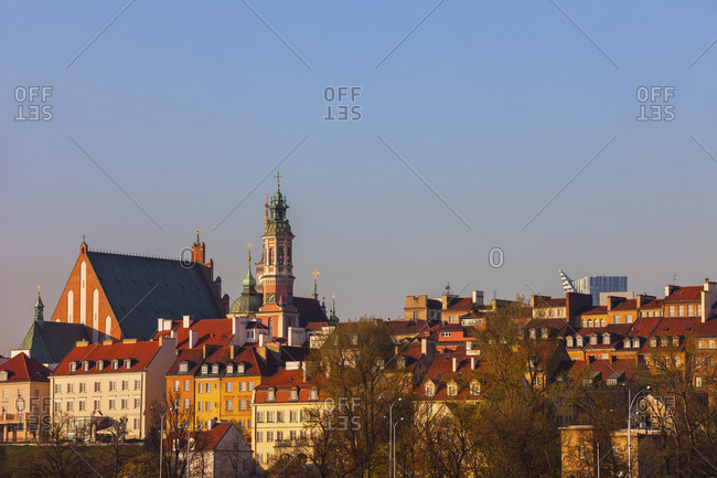 Skyline of the Old Town at sunrise- Warsaw- Poland