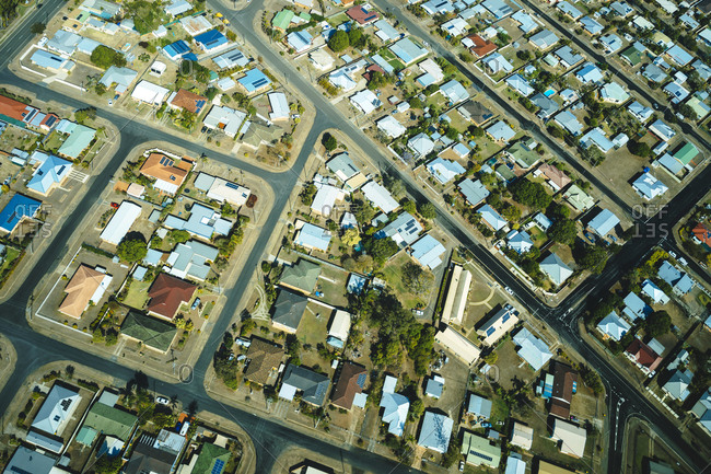 Aerial view of the houses and streets of a residential neighborhood in Bundaberg- Queensland- Australia